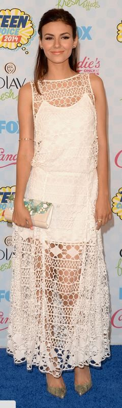 Who made Victoria Justice's white lace maxi dress, jewelry, and print clutch handbag that she wore in Los Angeles on August 10, 2014