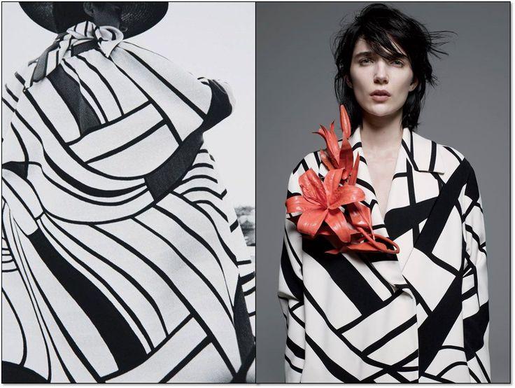 Слева: Пальто от Ива Сен Лорана. Harper's Bazaar . 1964 г. Фотограф: Франк Хорват (Frank Horvat). Справа:  Пальто от Боттега Венета. The New York Times Style Magazine.  2014 г. Модель: Дженис  Алида (Janice Alida). Фотограф: Эми Труст (Amy Troost).  #YSL  #YvesSaintLaurent #BottegaVeneta  #fashion #fashioninspiration #style #60s #1960s #SperanzaFirsace