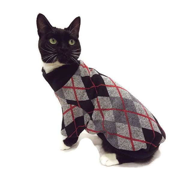 New! Black and Gray Argyle Cat sweater by RockinDogsCoolCats