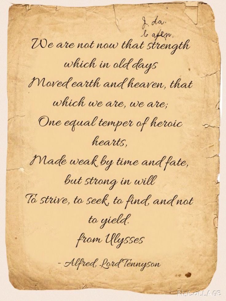 literary allusions in ulysses by tennyson Ulysses by alfred lord tennyson it must be an age thing but i doubt if i could have resonated with this poem 40 years ago when i was taking english literature.