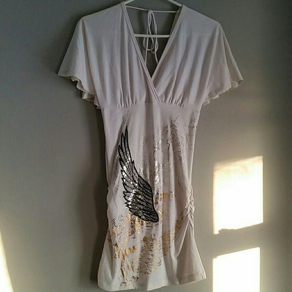 Sexy white v neck dress White v-neck dress. Beautiful sequin & gold detail! Small spot on dress see last pic. Dresses