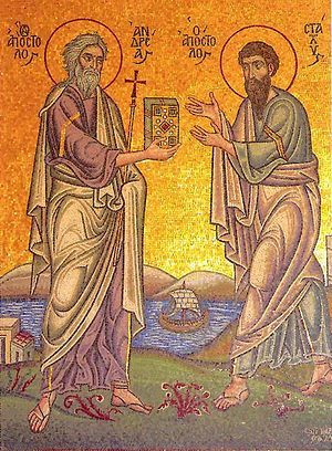 Апостол Андрей Первозванный вручает Евангелие апостолу Стахию