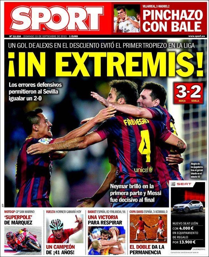 Los Titulares y Portadas de Noticias Destacadas Españolas del 15 de Septiembre de 2013 del Diario Deportivo SPORT ¿Que le pareció esta Portada de este Diario Español?