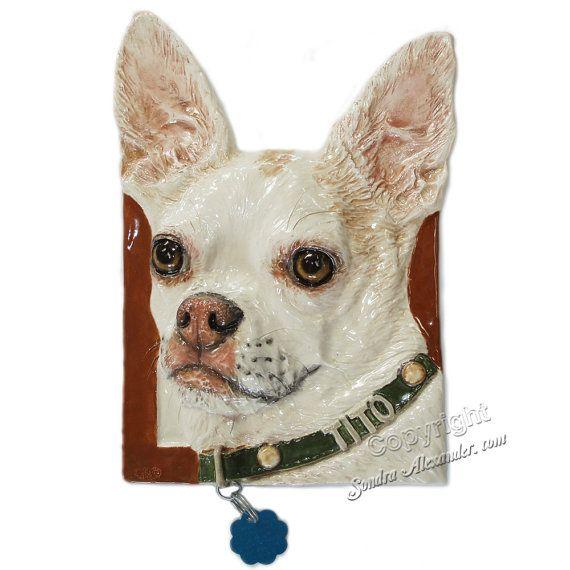 Chihuahua dog Ceramic Portrait Sculpture 3D Dog Art by alexart64, $74.99