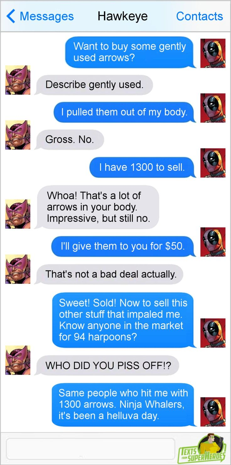 """Deadpool, the merc with a business plan, attempts to sell """"gently used arrows"""" to Hawkeye… along with 94 harpoons, which he got from ninja whalers who attempted to murder him. Who…"""
