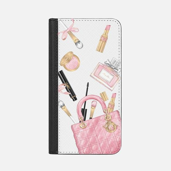 Cosmetic Makeup Transparent Fashion Addict Fashion Lover Lady Dior Bag YSL Mascara Miss Dior Perfume Wake up and Makeup Pink Gold - Snap Case