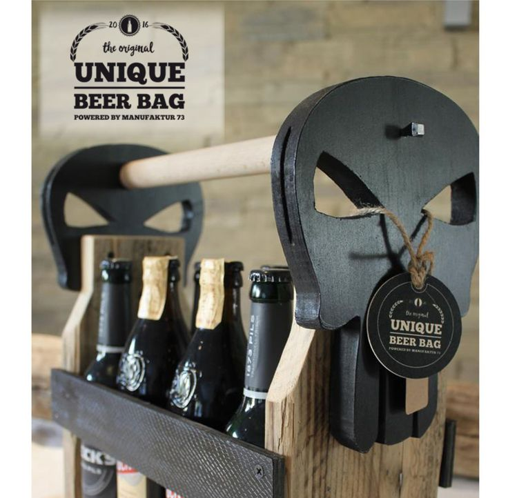 UNIQUE BEER BAG - SKULL - 8er Bierträger #WoodworkingProjectsBeer