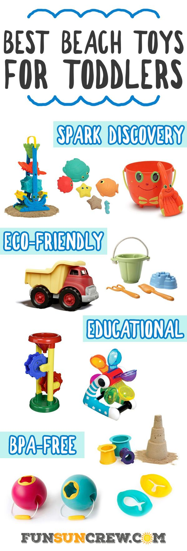 Looking for the best toddler beach toy? Here we list the best beach toys for toddlers from our favorite brands. These toys are safe, interactive and fun! - https://www.funsuncrew.com