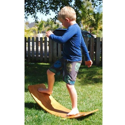 Rocker Board:  help children develop their sense of balance, and are also excellent for stimulating the vestibular system and a child's sense of proprioception (awareness of his or her physical body and its parts) http://www.bellalunatoys.com/wooden-toys/wooden-rocking-toys/waldorf-balance-rocker-boards.html
