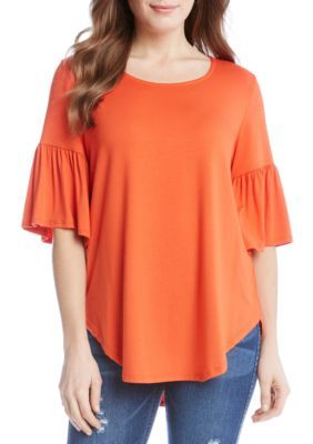Karen Kane Women's Bell Sleeve Tee - Orange - Xl