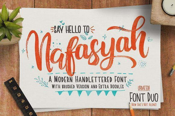 Nafasyah - Brushed Font Duo by endita on @creativemarket