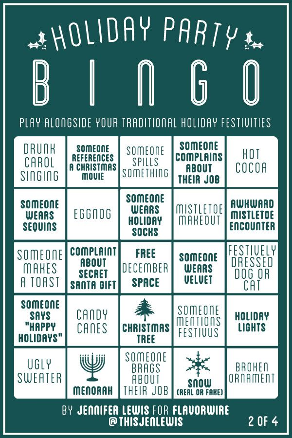Work Christmas Party Games Ideas Part - 35: Holiday Party Bingo Play A Happy Game Under The Christmas Tree, Between  Meals With Friends