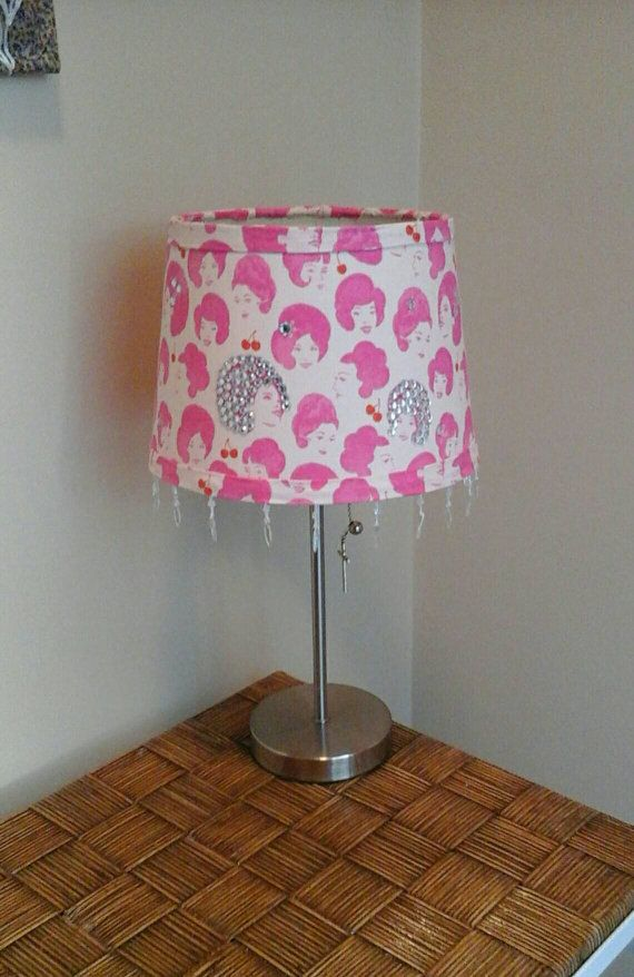 Natural Hair Woman, fabric covered drum lamp shade cream, white, pink, red, afros, updos, bling, cherries with iridescent fringe