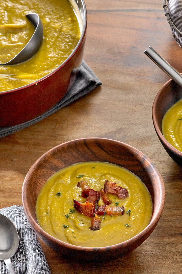 NYT Cooking: This is a thick, mellow split pea soup with a whisper of meaty smoke and the brambly fragrance of thyme. The recipe is easy and copious, and the soup freezes well. Look for split peas that have a use-by date on the package and are relatively fresh; they will cook faster and better.