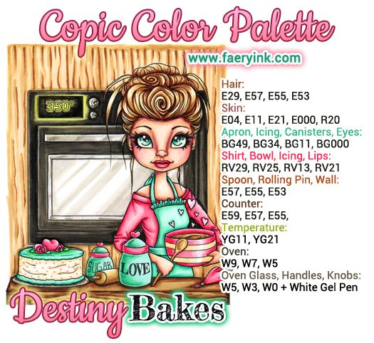 Destiny Bakes Copic Color Palette by Amanda S Byron www.FaeryInk.com