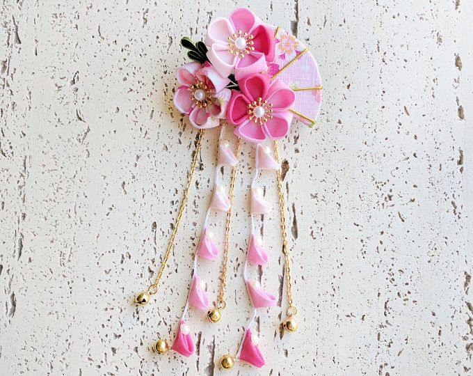 Summer Breeze Fabric Fan and Plum Blossoms Dangle Hair Piece for Japanese Yukata and Kimono - Pink
