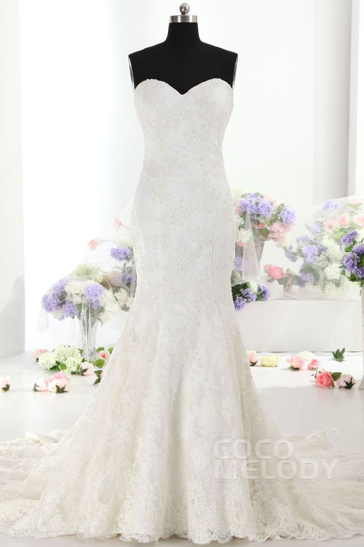Fabulous Trumpet-Mermaid Sweetheart Train Lace Ivory Sleeveless Lace Up-Corset Wedding Dress with Appliques CWLT14036*