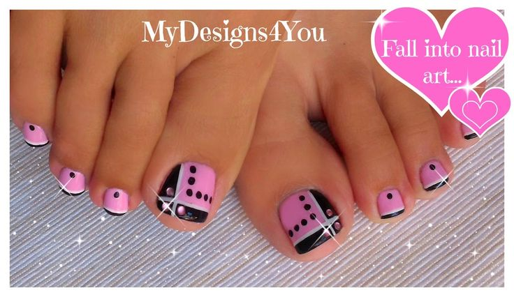 Toenail Art Design   Pink and Black Toes ♥ Черно-Розовый Педикюр