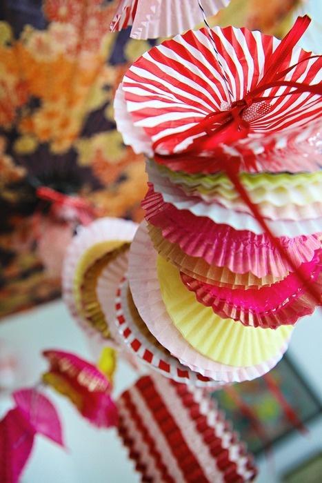 Cupcake paper garland...fun idea for birthdays.