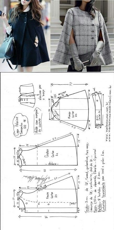Cloak stitch pattern...<3 Deniz <3 (Diy Ropa Chaqueta)
