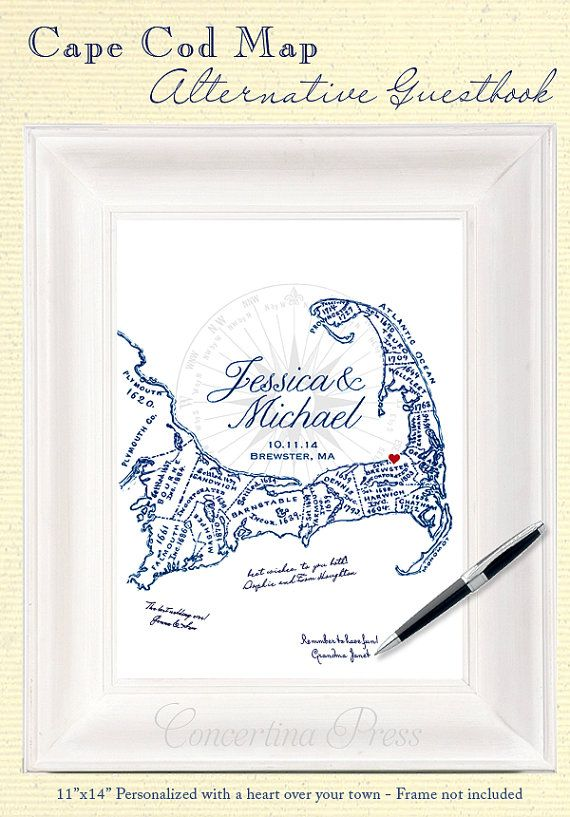 Cape Cod Alternative Wedding Guestbook Map by ConcertinaPress
