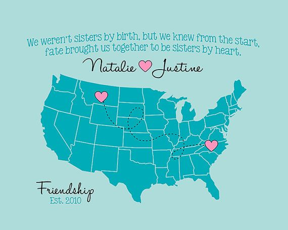 Best Friends Map, Long Distance Personalized Map Poster Birthday Gift for BFF, Sister, Quote, Friends Forever, Always, Moving Away Gifts