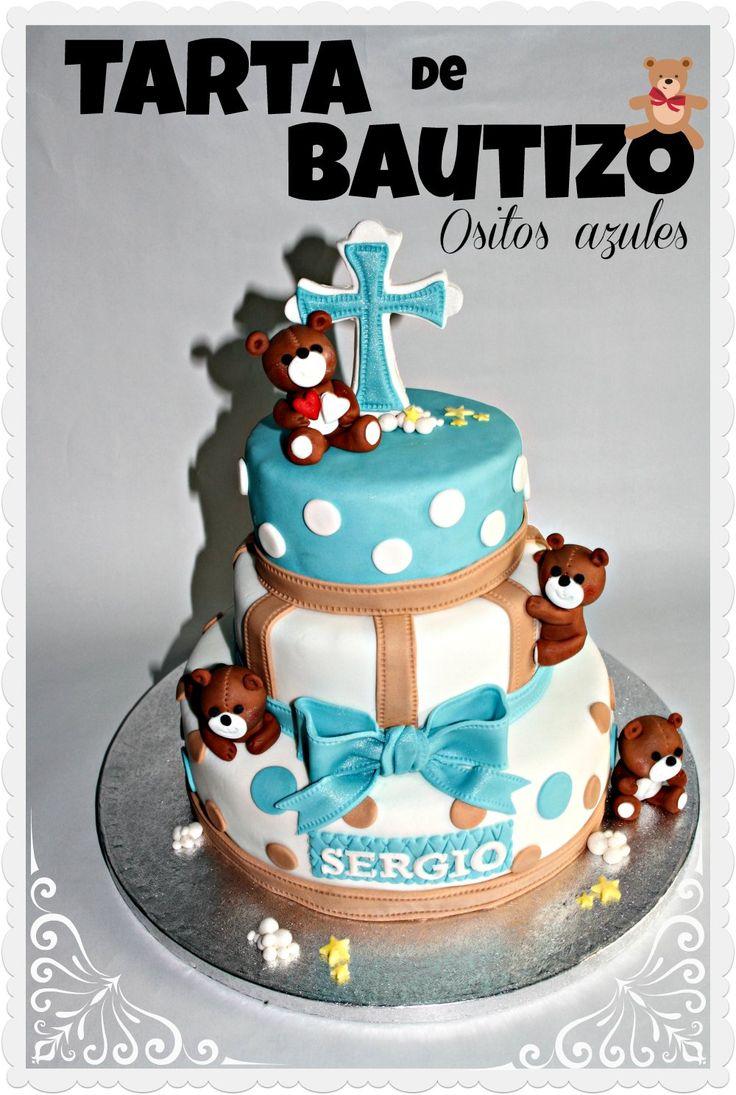 Tarta para el bautizo de un nene. Tarta de #chocolate decorada con #fondant #ositos  Kuki Box. Tartas y Galletas en Valencia www.kukibox.com