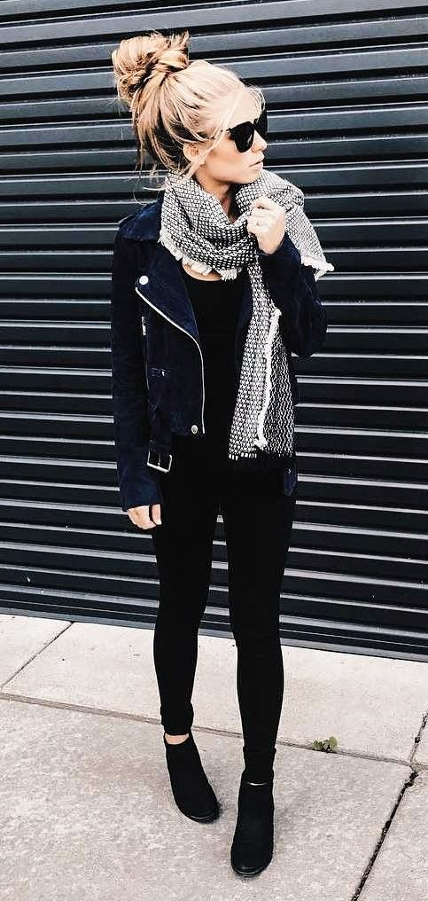 winter style // thick scarf, black moto jacket, sunglasses, black pants.
