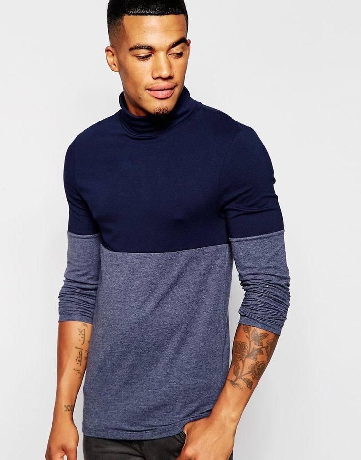 ASOS Extreme Muscle Long Sleeve T-Shirt With Roll Neck And Color Block
