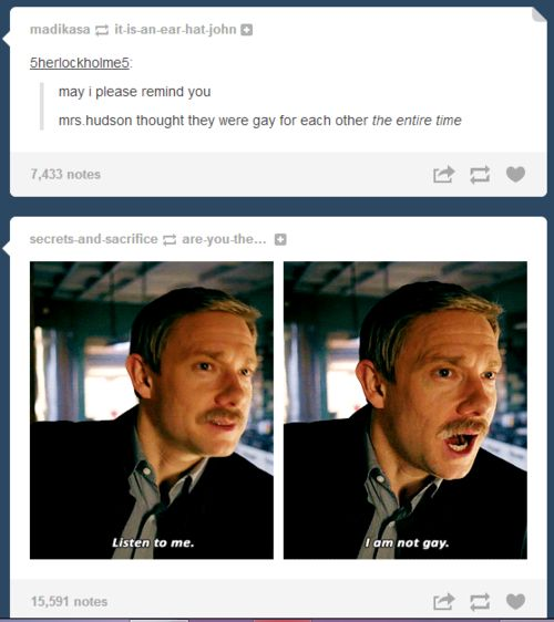 """But rewatching the show & imagining them as a couple the whole time was so funny. & sweet at times. Especially with mrs Hudson walking around like """"I ship it"""" <-- i dont ship johnlock but true"""
