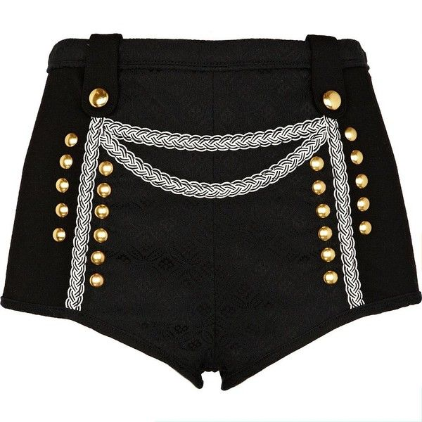 River Island Black military knicker shorts ($15) ❤ liked on Polyvore featuring shorts, bottoms, military style shorts, river island, military fashion, military shorts and studded shorts