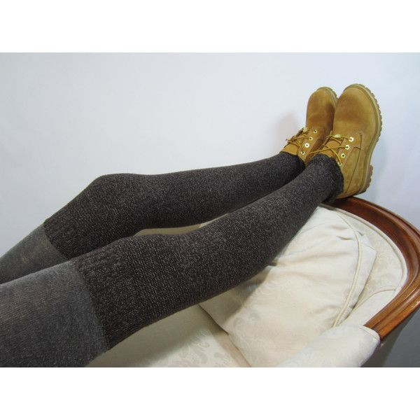 Skinny Brown Thigh Highs Leg Warmers Boot Socks Over the Knee Sock... ($20) ❤ liked on Polyvore featuring intimates, hosiery, grey, leg warmers, women's clothing, thigh high leg warmers, patterned hosiery, over the knee hosiery, bike leg warmers and over the knee leg warmers