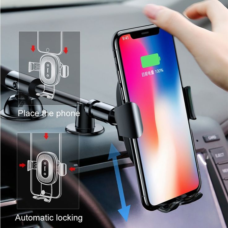 Baseus Qi Wireless Charger Gravity Car Phone Holder For Iphone 8