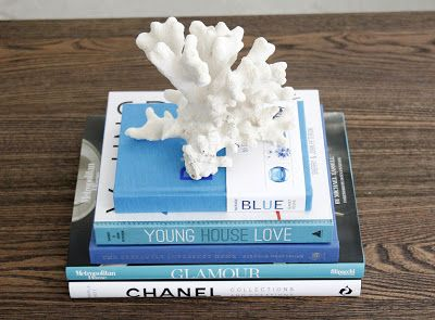 Blue Coffee Table Books; i think coral may need to stay at beach houses