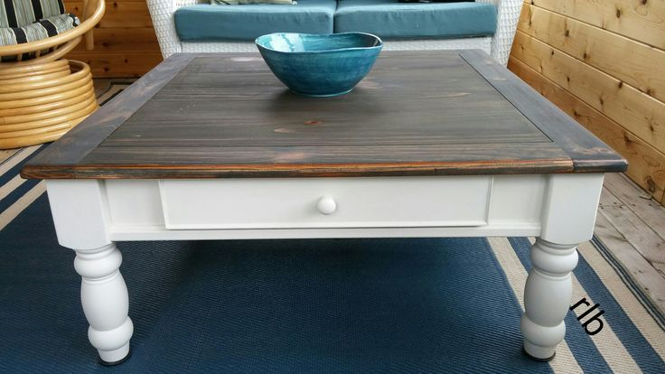 Stained top and creamy white! Square coffee table. rb