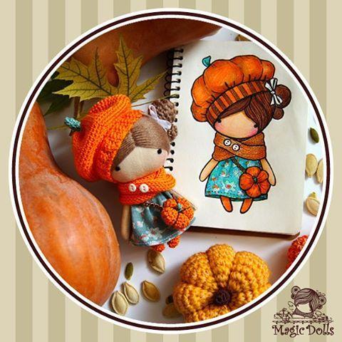 Ma Petite Poupee - Pumkin, h=11cm (for example/to order, для примера/под заказ) #magic__dolls #doll #dolls #art #design #sew #crochet #knitting #draw #sketch #miniature #decor #handmade #handcraft #кукла #миниатюра #творчество #зарисовка #эскиз #ручнаяработа #кукларучнойработы #рисую #вязание #текстильнаякукла #тряпичнаякукла #тканеваякукла #декор #october #тыква #pumkin