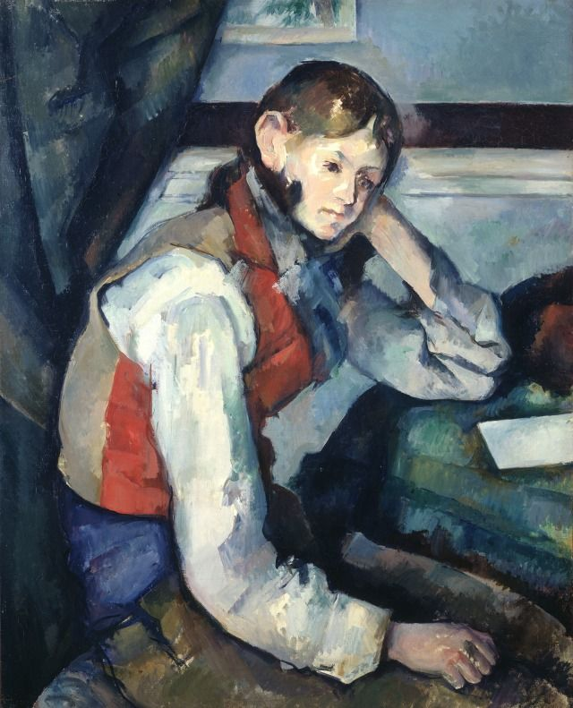 Cezanne's Boy in the Red Vest, part of the Bührle Collection of paintings at the Hermitage in Lausanne until 29 October. See: creativelivinggeneva.com