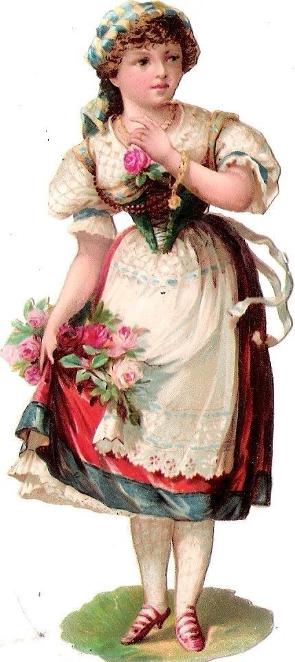 Oblaten Glanzbild scrap die cut chromo Dame femme Lady Kind child Mädchen Rosen