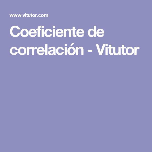 Coeficiente de correlación - Vitutor