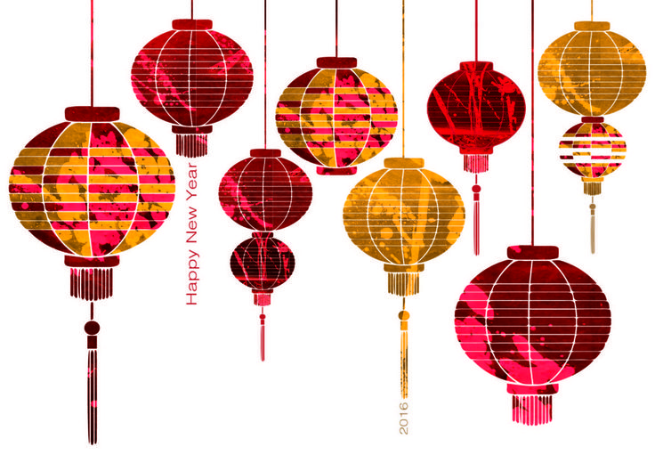 Wishing all a very happy Chinese New Year! 2016 the year of the monkey To mark the occasion I have designed 8 lucky lanterns