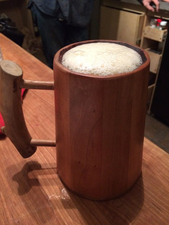Handmade Wood Beer Tankard Mug Tolkien And Medieval