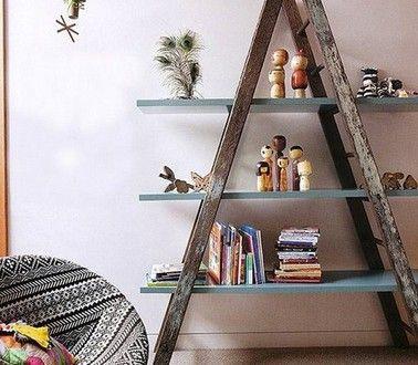 faire-une-etagere-avec-une-echelle-et-planche-mdf - Décoration Maison Idées Déco et Couleur Peinture par Pièce |Déco-Cool