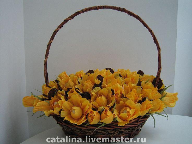"""Купить Букет из конфет """"Розы желтые"""" - букет из конфет, конфетный букет, подарок на 8 марта"""