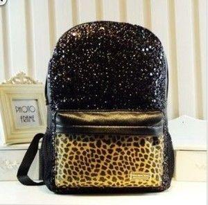 Price:$28.99  Cool Shiny Sparking Leopard Backpack Bag