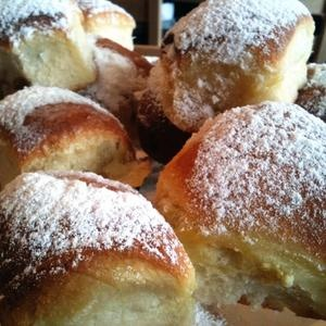 Traditional Czech yeast buns filled with plum jam