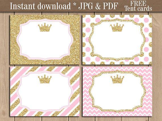 Princess Food Labels printable. Gold Crown Tent cards ...