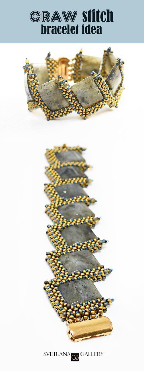 CRAW Stitch Bracelet Idea with Labradorite Beads - Svetlana.Gallery