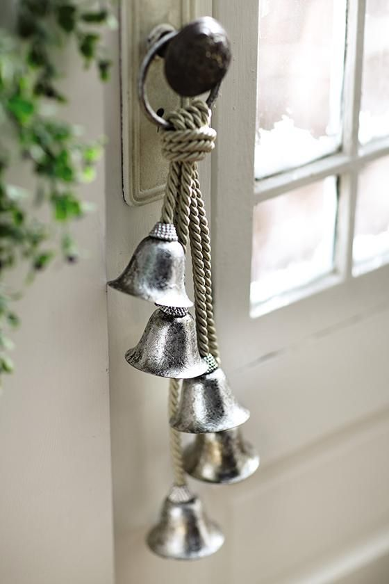 Silver bells on rope christmas pinterest birthdays for Door open chime