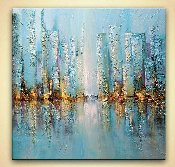 Cityscape Painting Original Abstract Acrylic Painting On Canvas