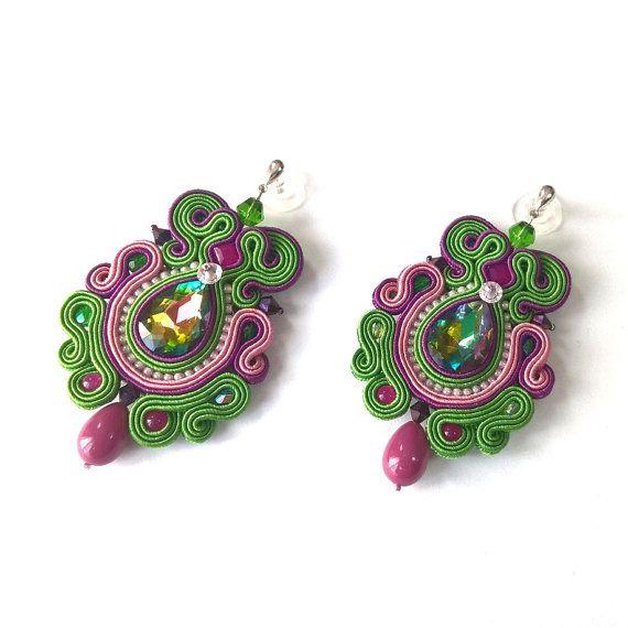 Multicolor Funky orecchini, Orecchini Soutache, istruzione gioielli, orecchini lunghi alla moda, verde viola orecchini rosa, Multicolor